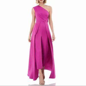 NWT Kay Unger One Shoulder Skirted Jumpsuit Pink